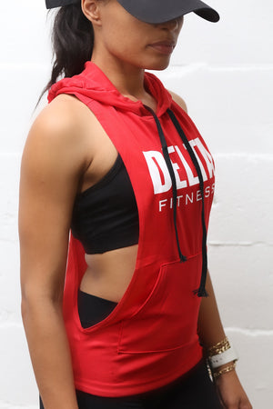 Excuse My Back Delta stringer tank hoodie, red