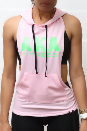 Excuse My Back AKA stringer tank hoodie, pink