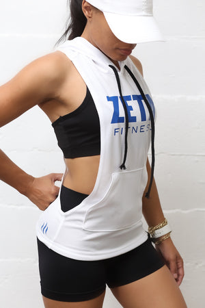 Excuse My Back Zeta stringer tank hoodie, white