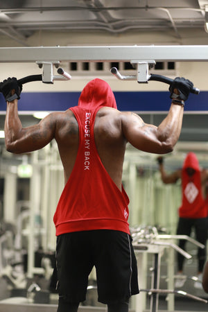 Excuse My Back Diamond-K stringer tank hoodie, red