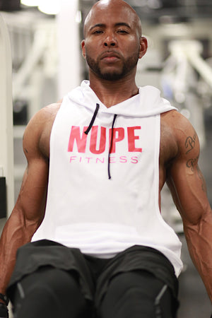 Excuse My Back Nupe stringer tank hoodie, white