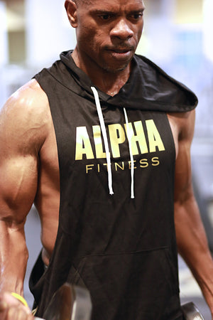 Excuse My Back Alpha stringer tank hoodie, black