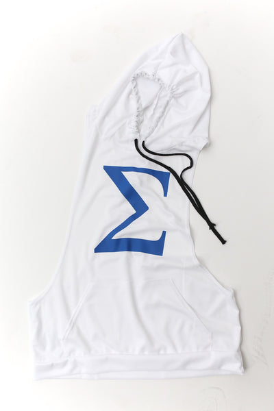 Excuse My Back Σ stringer tank hoodie, white