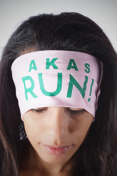 AKAs RUN Bondi Band extra-wide, light-pink/green