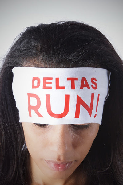 DELTAS RUN Bondi Band extra-wide, white/red