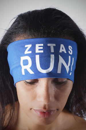 ZETAS RUN Bondi Band extra-wide, blue/white
