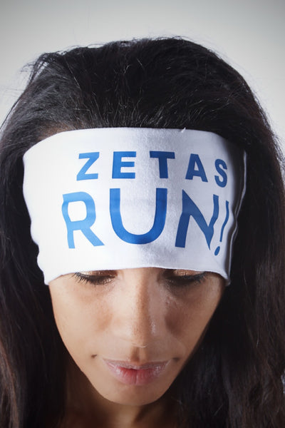 ZETAS RUN Bondi Band extra-wide, white/blue