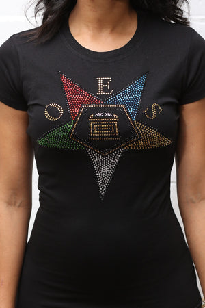 Order of the Eastern Star rhinestone workout tee, black