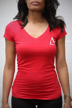 Branded Badge Δ workout tee (v), red