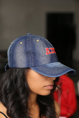 My ΔΣΘ Jeans polo dad hat, dark denim