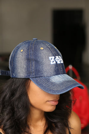 My ΖΦΒ Jeans polo dad hat, dark denim