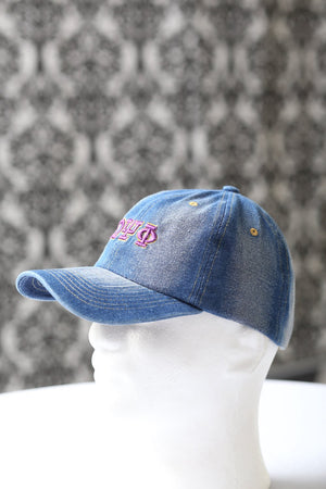 My ΩΨΦ Jeans polo dad hat, light denim