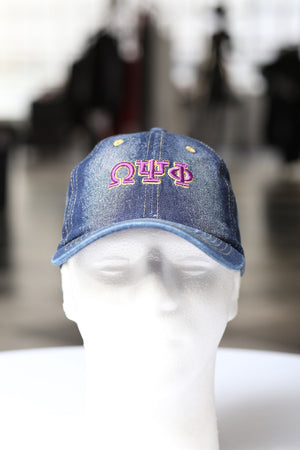My ΩΨΦ Jeans polo dad hat, dark denim