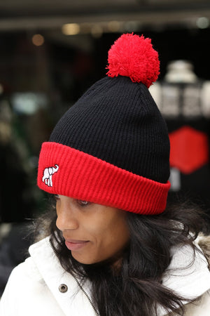 High Goals pom-pom beanie, black/red