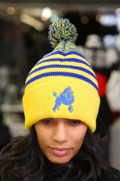 Frenchie Poodle pom-pom beanie, gold/blue