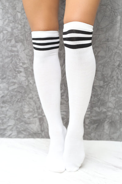 High & Tight thigh-high sports socks, white w/black