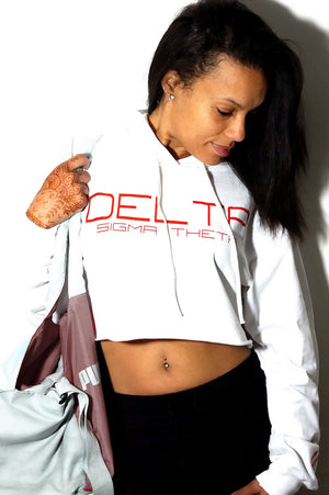 I Said My Soror Delta cropped hoodie, white