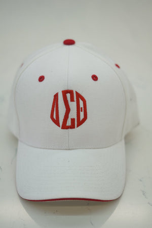 Monogrammed Sport ΔΣΘ cap, white/red