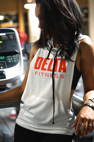 Excuse My Back Delta stringer tank hoodie, white