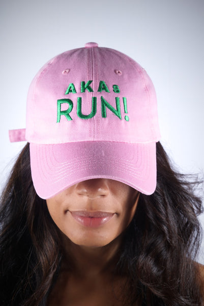 AKAs RUN polo dad hat, pink