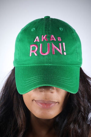 AKAs RUN polo dad hat, green
