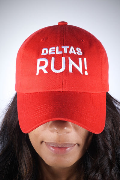 Deltas RUN polo dad hat, red