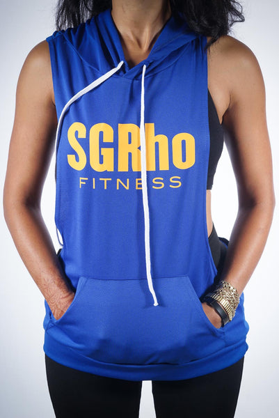 Excuse My Back SGRho stringer tank hoodie, blue