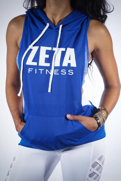 Excuse My Back Zeta stringer tank hoodie, blue