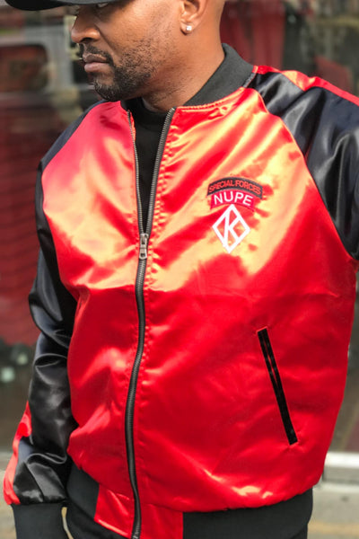 Special Forces Nupe satin paratrooper jacket, red