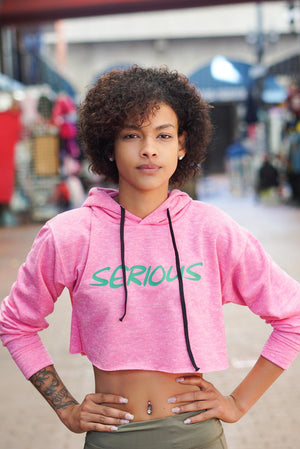 Serious Matter cropped hoodie, pink