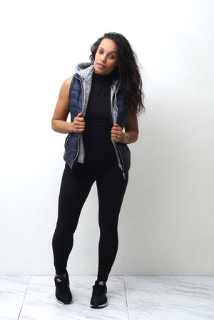 Free & Clear bomber vest, navy