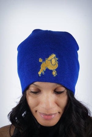Frenchie Poodle skullie, blue