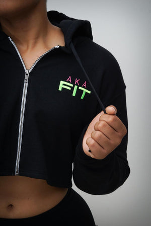 FIT AKA cropped hoodie jacket, black