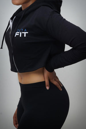 FIT Zeta cropped hoodie jacket, black