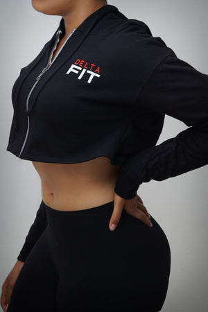 FIT Delta cropped hoodie jacket, black