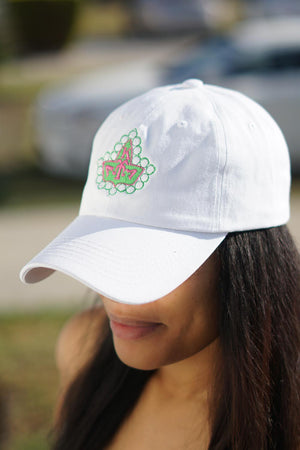 20 Pearls polo dad hat, white