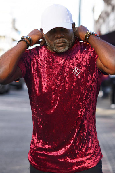Smooth, Suave & Debonaire Diamond-K crushed velvet tee, krimson