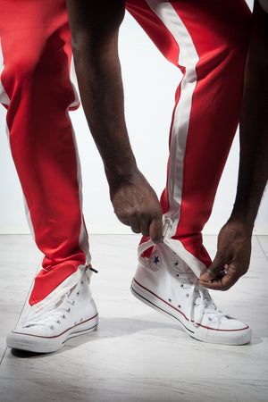 Run The Yard track pants, red/white