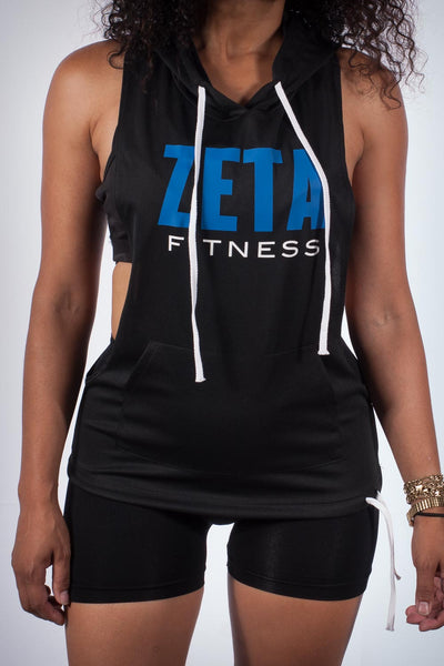 Excuse My Back Zeta stringer tank hoodie, black