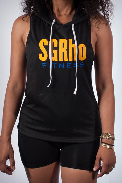 Excuse My Back SGRho stringer tank hoodie, black