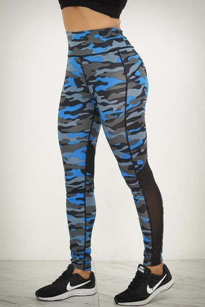 Blue Thunder premium leggings, camouflage blue