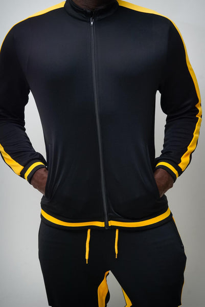 Run The Yard track jacket, black/gold