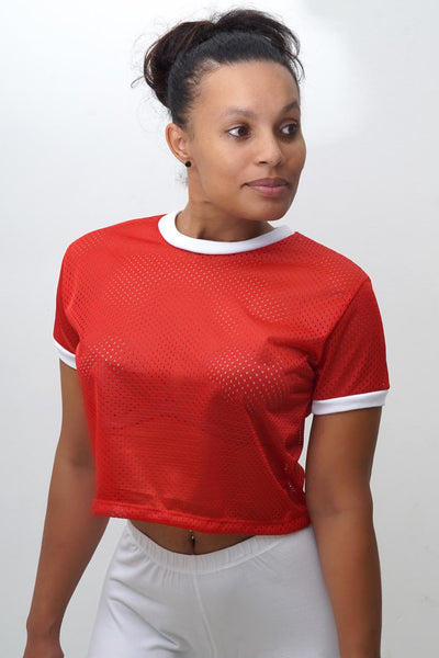 Main Breeze cropped jersey ringer, red/white