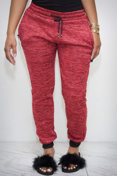 Love is Love joggers, heather crimson
