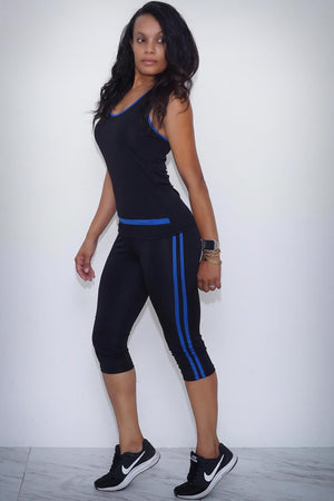 Black Rain capri/tank set, blue