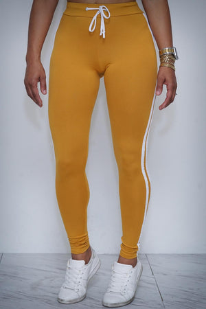 Finish Line leggings/crop-hoodie set, gold