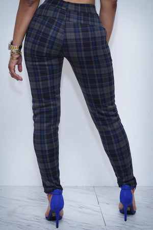 Alosoft Blocked plaid pants, blue