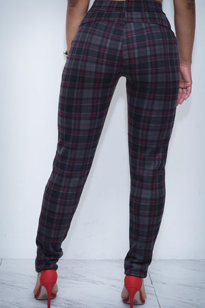 Alosoft Blocked plaid pants, red