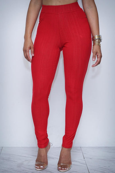 Goddess skinnies, red