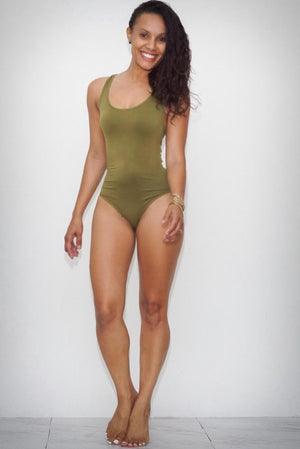 Fresh Out bodysuit, olive